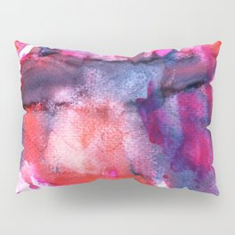 Hand painted neon pink red blue white watercolor pattern Pillow Sham