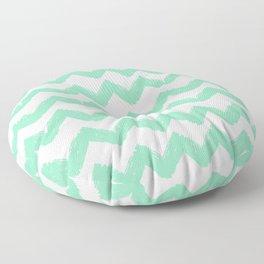 Hand-Drawn Chevron (Mint & White Pattern) Floor Pillow