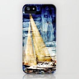 mixed  media sailboat iPhone Case