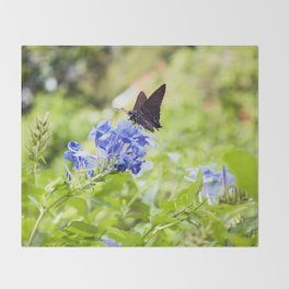 Butterfly on a Purple Flower Photography Print Throw Blanket