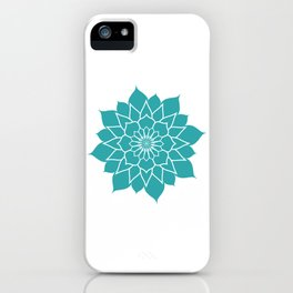 Teal mandala flower, geometrical floral pattern iPhone Case