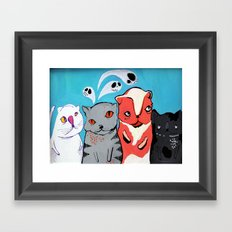 Technicolour Dream Cats Framed Art Print