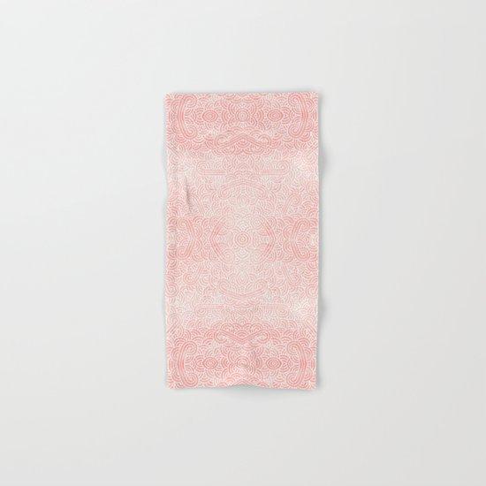 Rose quartz and white swirls doodles Hand & Bath Towel