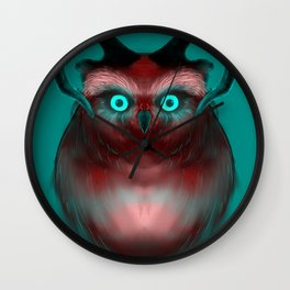 Red Neon Owl Wall Clock