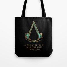 Assassins creed symbol and skyrim lexicon mashup Tote Bag