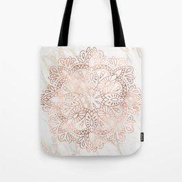 Rose Gold Mandala Marble Tote Bag
