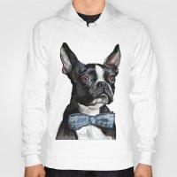 terrier Hoodies featuring Boston Terrier by Orestis Lazos