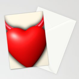 Heart Series Love Red Devil Horns Love Valentine Anniversary Birthday Romance Sexy Red Hearts Valent Stationery Cards