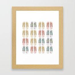 Multi-colored slates, flip-flops Framed Art Print