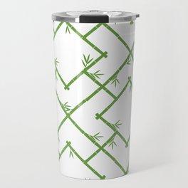 Bamboo Chinoiserie Lattice in White + Green Travel Mug