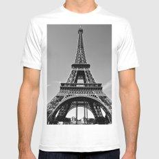 Tower Eiffel En Noir White Mens Fitted Tee MEDIUM