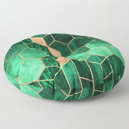 Emerald Cubes And Hexagons Floor Pillow