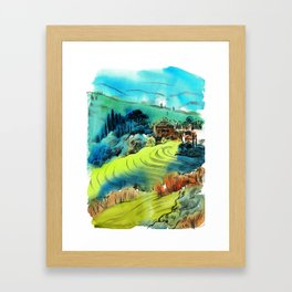 Tuscan hills in autumn Framed Art Print