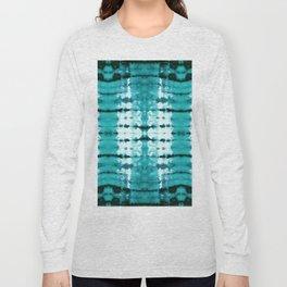 Aqua Satin Shibori Long Sleeve T-shirt