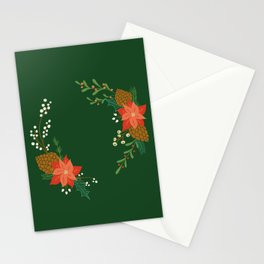 Winter Florals - Green Stationery Cards