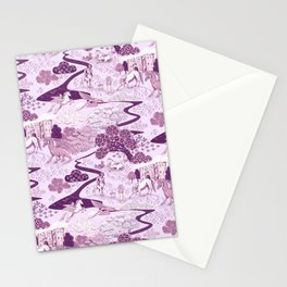 Mythical Creatures Toile- Plum purple colors Stationery Cards
