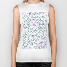 Modern botanical hand painted lilac green floral polka dots Biker Tank