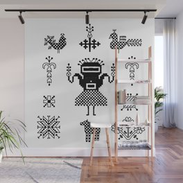 folk embroidery, Collection of flowers, birds, peacocks, horse, man, geometric ornaments, symbols e Wall Mural