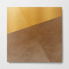 Gold Leather Metal Print