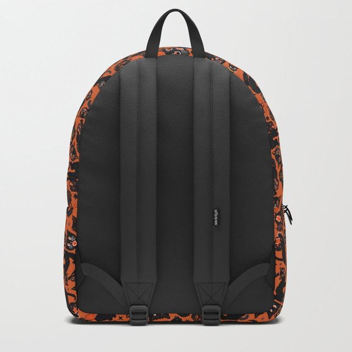 Halloween Cats on orange Backpack