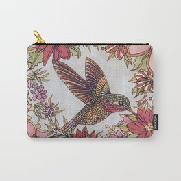 Hummingbird In Flowery Garden Wreath Carry-All Pouch
