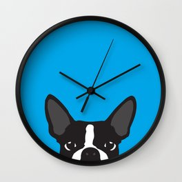 Boston Terrier Blue Wall Clock