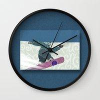 snowboarding Wall Clocks featuring Snowboarding by Aquamarine Studio