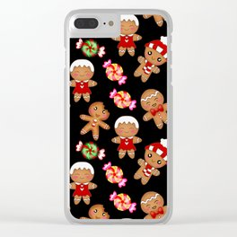 Cute decorative hygge pattern. Happy gingerbread men and sweet xmas caramel chocolate candy. Xmas Clear iPhone Case