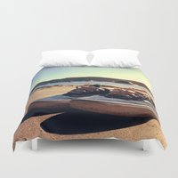 vans Duvet Covers featuring Beached Vans by Zakvdboom Designs