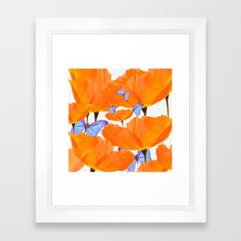 Poppies And Butterflies White Background #decor #society6 #buyart Framed Art Print