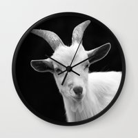 goat Wall Clocks featuring Goat by BACK to THE ROOTS