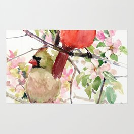 Cardinal Birds and Spring, cardinal bird design Rug