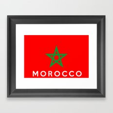 Morocco country flag name text Framed Art Print