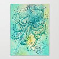 kraken Canvas Prints featuring Kraken by pakowacz