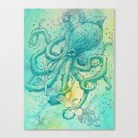 kraken Canvas Prints featuring Kraken by pakowacz