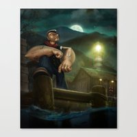 popeye Canvas Prints featuring Popeye by Geison Araujo