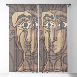 Pablo Picasso, Tete de Femme (Head Of A Woman) 1962 Artwork Reproduction Sheer Curtain