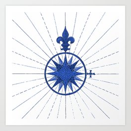 Nautical French Blue Compass Rose Art Print