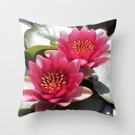 Pink Water Lily Duo Throw Pillow