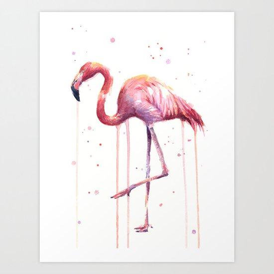 Flamingo Watercolor Tropical Birds Animal Painting Art Print