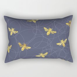 Flying Gold Bees On A Dark Blue Background Rectangular Pillow