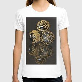 Golden christmas balls on black background T-shirt