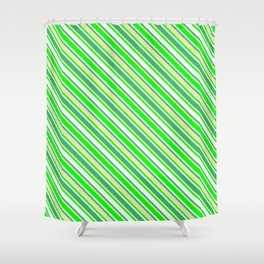 Pale Goldenrod, Lime, Mint Cream & Sea Green Colored Lines/Stripes Pattern Shower Curtain