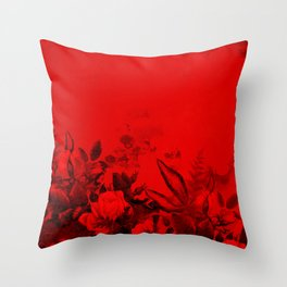 Red and Black Floral Throw Pillow