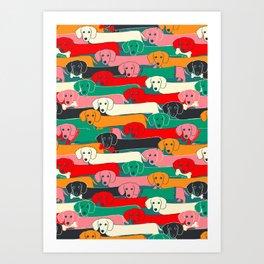 dachshund pattern- happy dogs Art Print