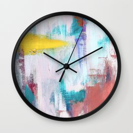 Colfax: an interesting, vibrant, abstract mixed media piece in a variety of colors Wall Clock