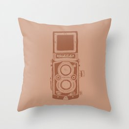 Vintage Rolleiflex Camera Illustration Throw Pillow