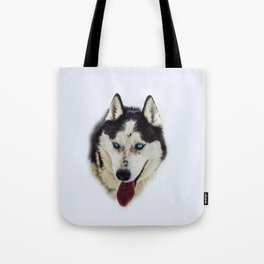 Siberian Husky with blue eyes Tote Bag
