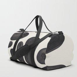 Mid Century Modern Minimalist Abstract Art Brush Strokes Black & White Ink Art Pebbles Duffle Bag