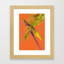 Island Palm Tree Orange Framed Art Print